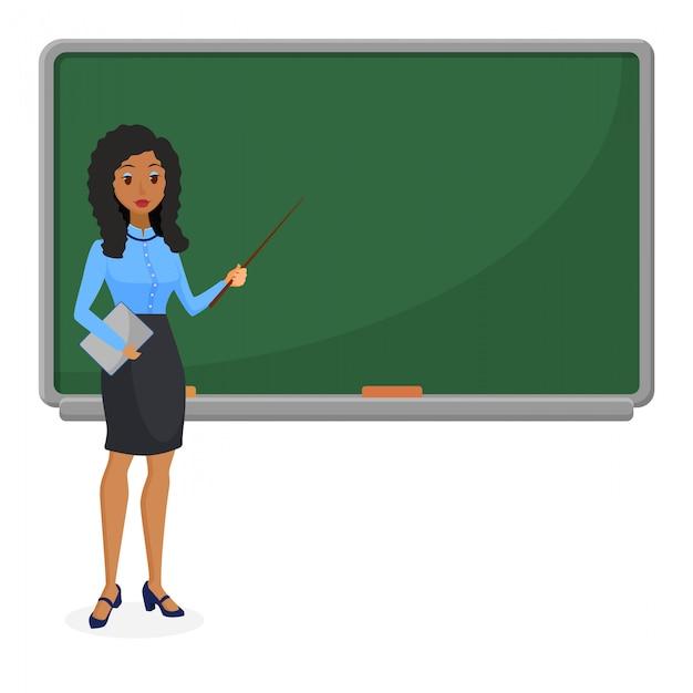 黒板の前に立っているイスラム教徒またはブラジルの女性教師 Premiumベクター