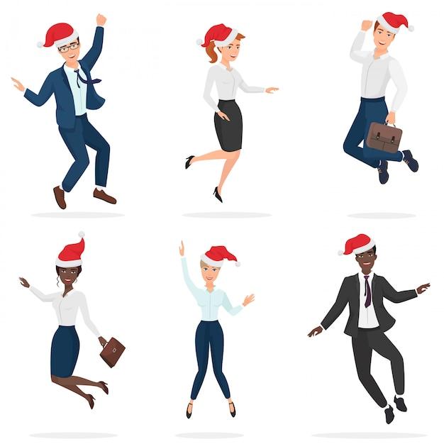 Деловой офис в официальных костюмах подходит мужчинам и женщинам, в рождественских шапках красные прыгают, танцуют и веселятся. Premium векторы