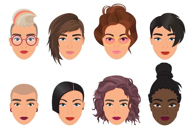 女性女性の頭のアバターは、ベクトル図を設定します。異なるファッション髪型と現代の多民族の美しい若い女の子の肖像画。 Premiumベクター