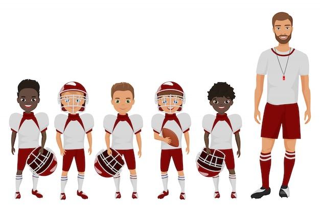 漫画のフラットスクールアメリカンフットボール少年チームはコーチトレーナーと立っています。 Premiumベクター