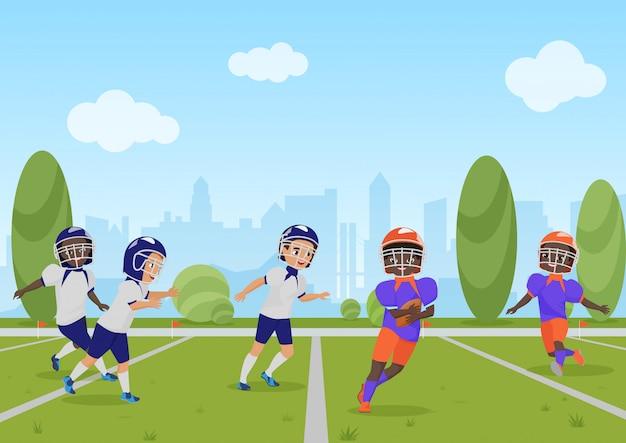 アメリカンフットボールの試合を遊んでいる子供の子供たち。イラスト漫画。 Premiumベクター