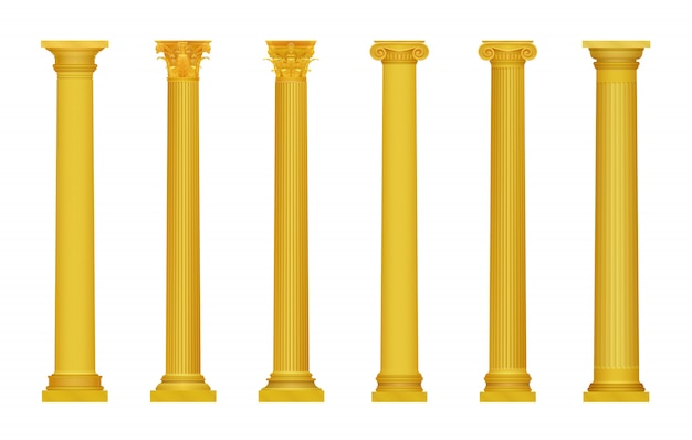 Иллюстрация золотой реалистичные высокой подробные греческие рома древних колонн. роскошная золотая колонна. Premium векторы