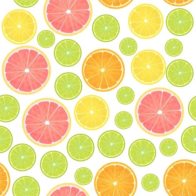 カラフルな柑橘系のレモンのシームレスパターン。 Premiumベクター