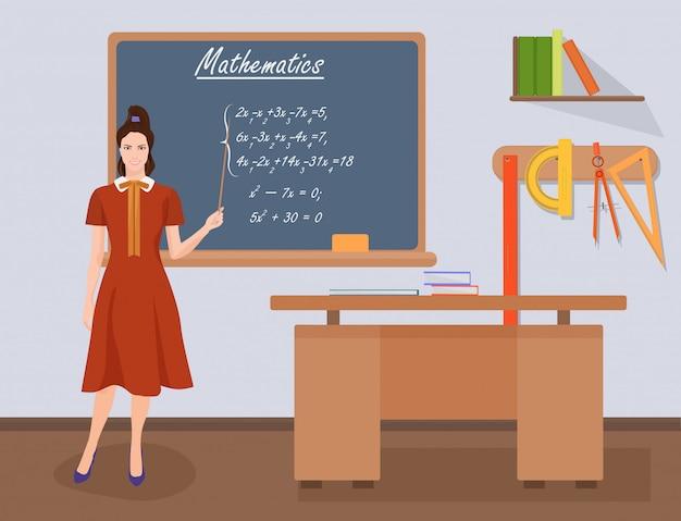 学校数学女教師 Premiumベクター