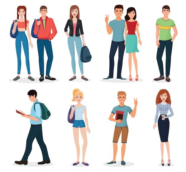 Международный набор молодых студентов Premium векторы