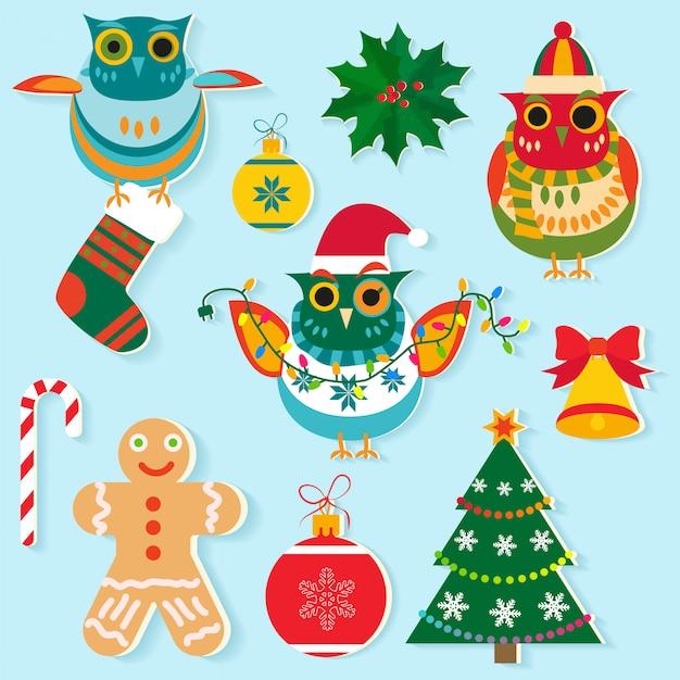 クリスマスのアイコン、新年の要素 Premiumベクター