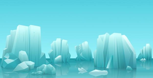 Зимний арктический ледяной пейзаж Premium векторы