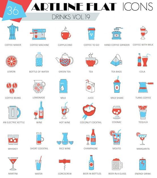 Набор иконок плоская линия различных напитков Premium векторы