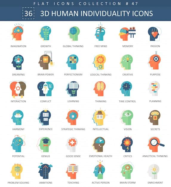 人間の性格人格個性フラットアイコン Premiumベクター