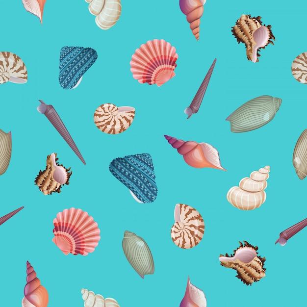 貝殻のシームレスパターン。 Premiumベクター