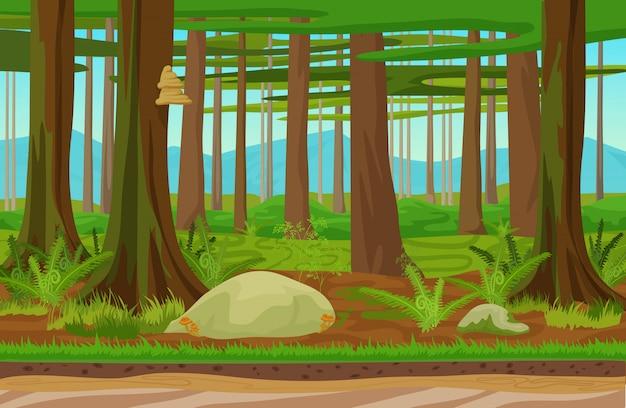 Лесной лесной пейзаж Premium векторы