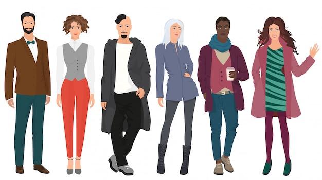 Красивые модные стильные люди Premium векторы