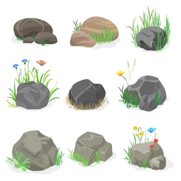 岩、石の芝生セット Premiumベクター