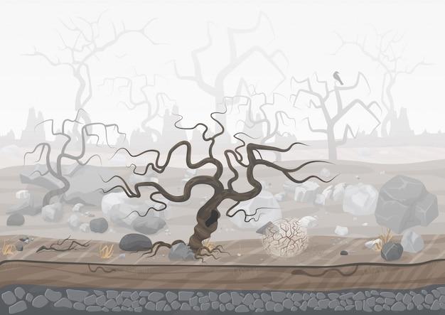 霧の中で神秘的な不気味な森 Premiumベクター