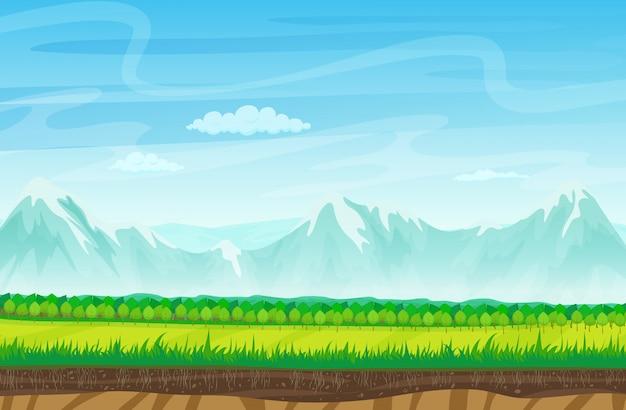 Игровой пейзаж со скалами гор Premium векторы