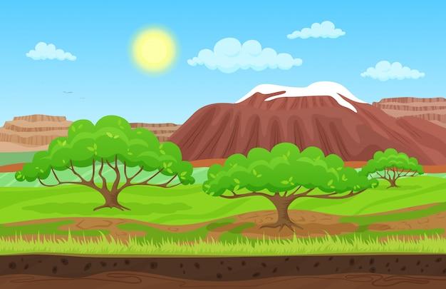 山の丘と夏の風景 Premiumベクター