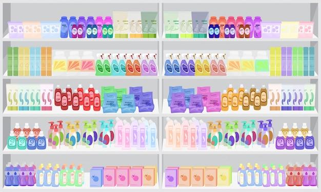スーパーマーケットの棚には家庭用化学薬品を保管してください。 Premiumベクター