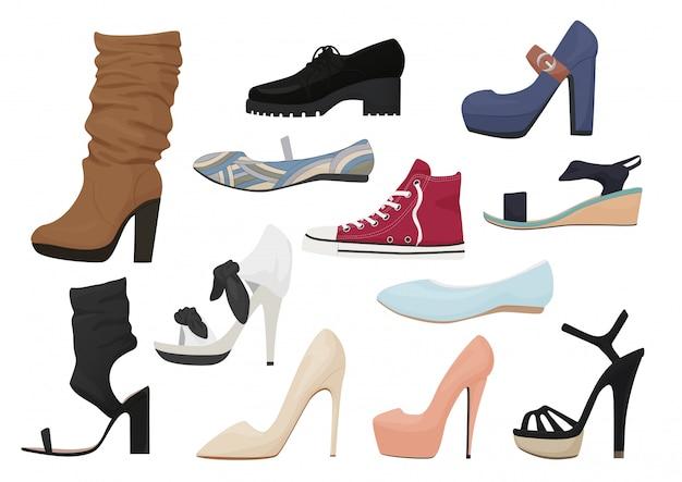 Набор иконок женской обуви Premium векторы