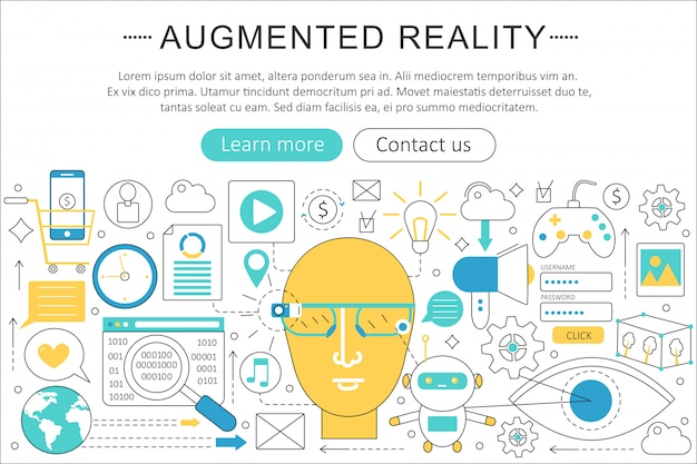 拡張現実感技術のコンセプト Premiumベクター