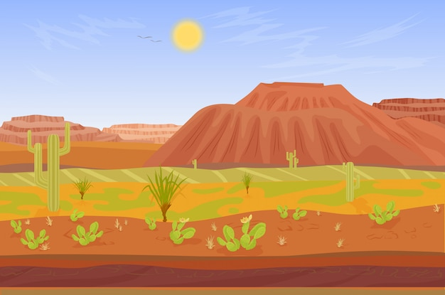 Большой каньон с камнями и кактусами Premium векторы