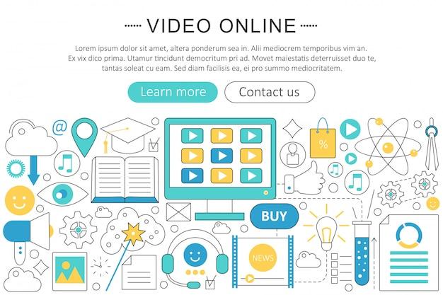 ビデオオンライン技術フラットラインコンセプト Premiumベクター