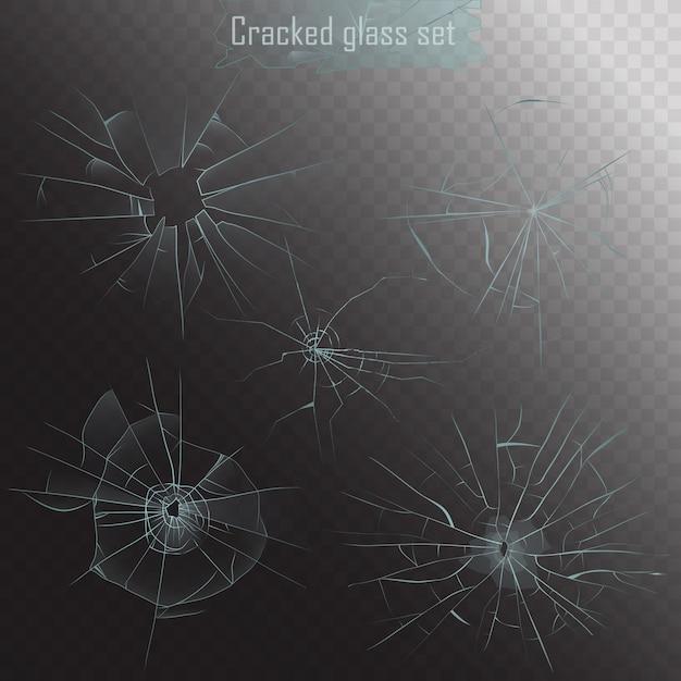 リアルな割れたガラス亀裂セット Premiumベクター