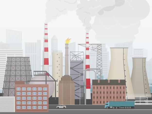 Промышленный завод, заводской пейзаж Premium векторы