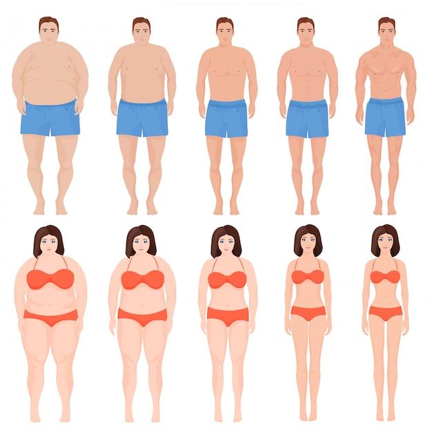 Мужчина и женщина, процесс похудения Premium векторы