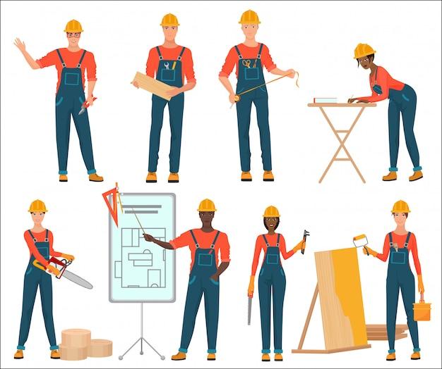男性と女性の建設チーム Premiumベクター