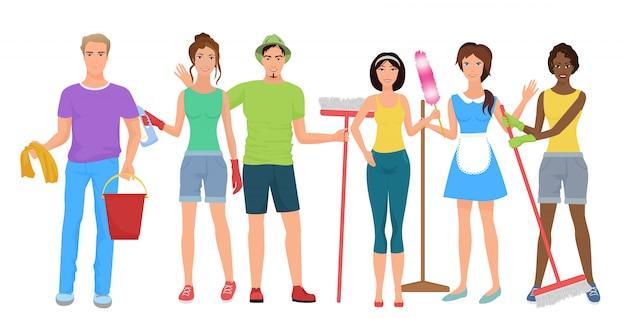 男性と女性の用務員クリーナーチーム Premiumベクター