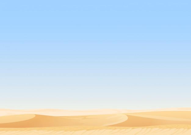 空の空砂漠の砂丘の風景 Premiumベクター