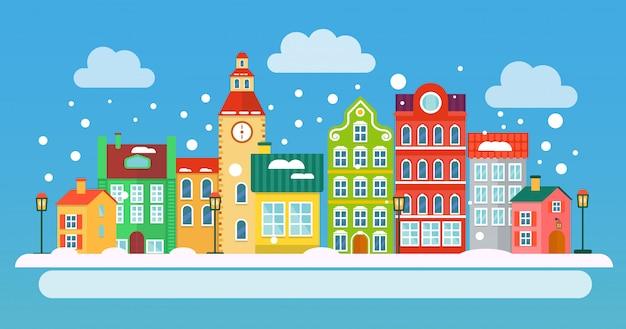 冬のクリスマス風景イラスト Premiumベクター