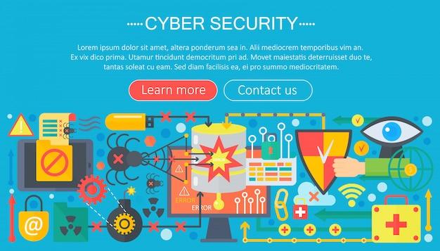 サイバーセキュリティインフォグラフィックテンプレートのコンセプト Premiumベクター