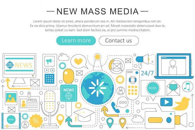 ニュースマスメディアフラットラインコンセプト Premiumベクター