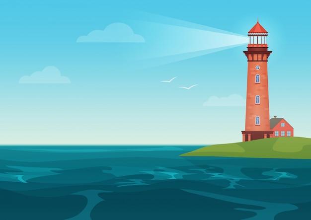 小さな島の灯台 Premiumベクター
