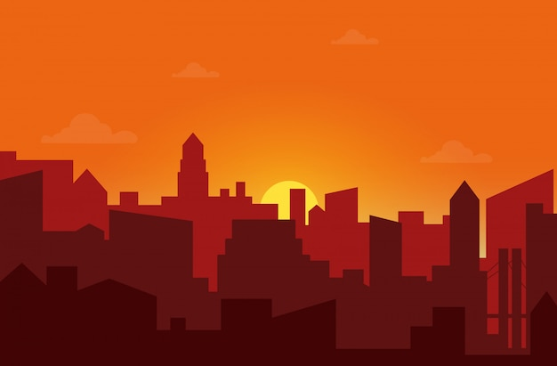 街の夕日 Premiumベクター
