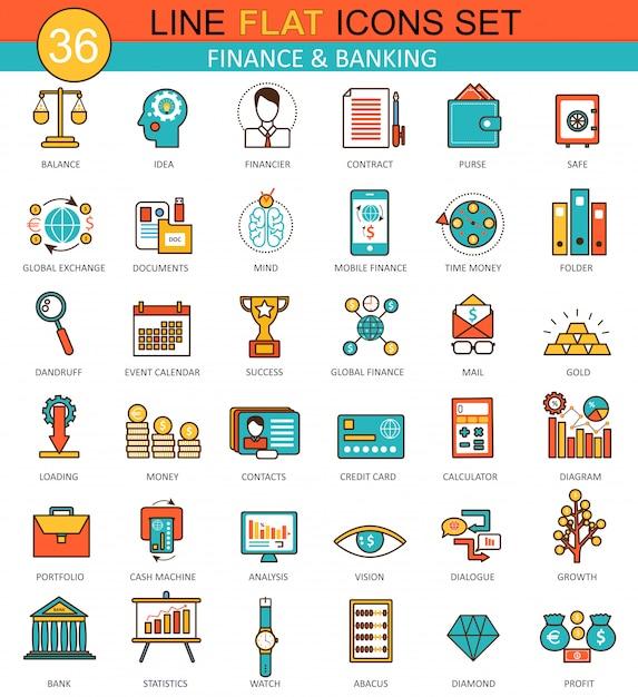 金融、銀行の平らな線アイコンセット Premiumベクター