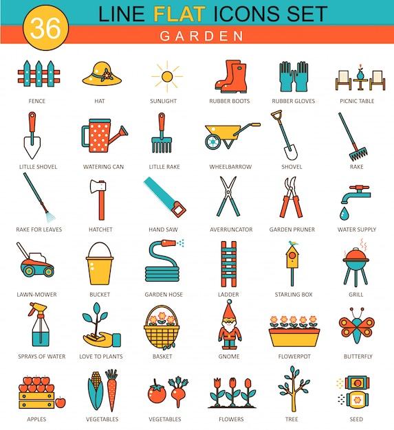 園芸工具フラットラインアイコン Premiumベクター