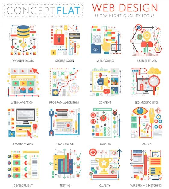 Инфографика мини концепции веб-дизайн иконки и цифровой маркетинг для веб-сайтов. Premium векторы