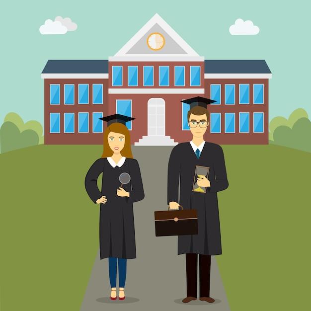 校舎の前に大きな幸せな学生 Premiumベクター