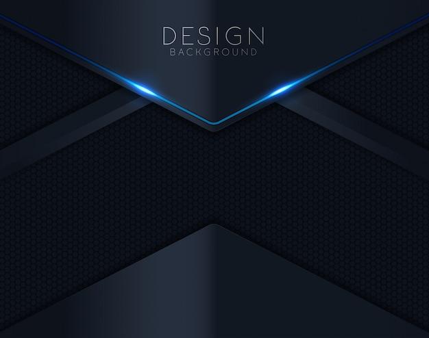 黒い紙が青く輝く背景をカット Premiumベクター