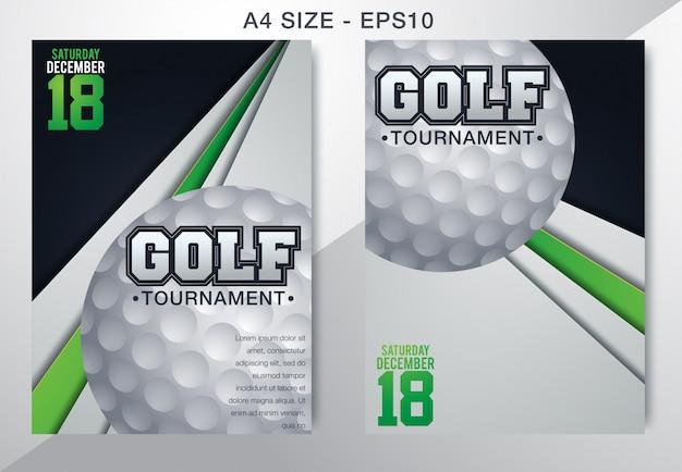 ゴルフトーナメントポスターテンプレートチラシ Premiumベクター