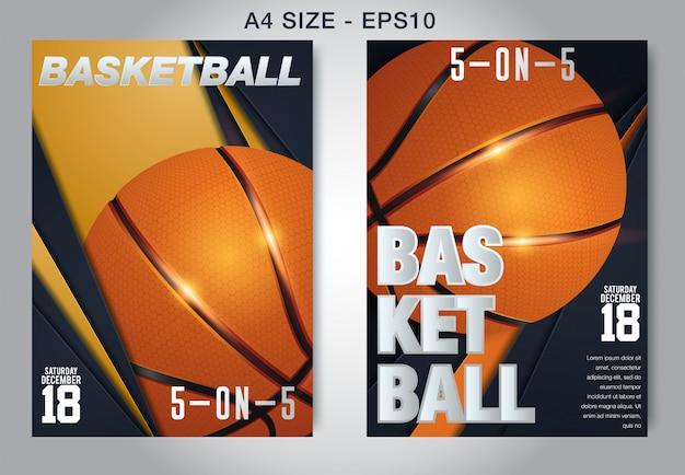 バスケットボールポスターベクトル。 Premiumベクター