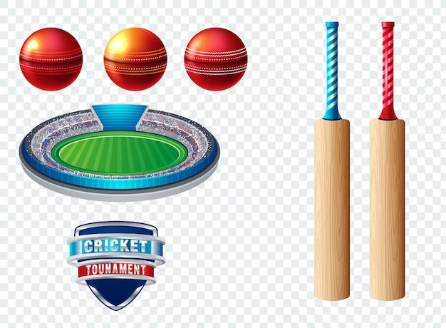 クリケットのスポーツテンプレートのロゴの要素のセット Premiumベクター