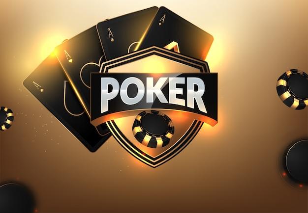 カジノの破片、カードおよびテキストのための場所 Premiumベクター