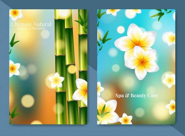 ミニマルなスパとヘルスケアデザインのパンフレット。 Premiumベクター