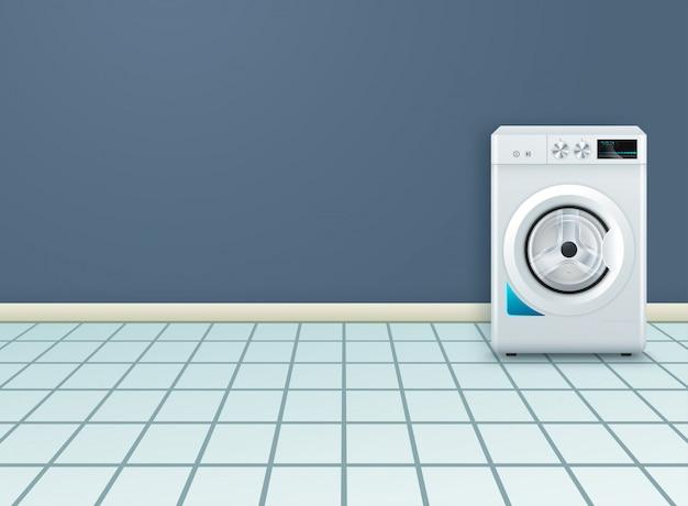 空の洗濯室でモダンな洗濯機と現実的な背景 Premiumベクター