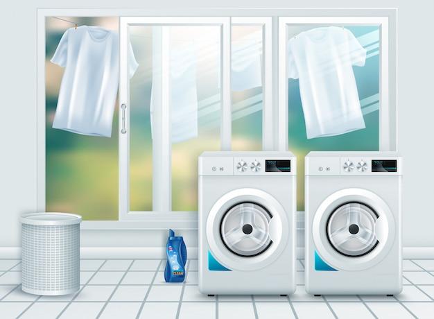 現実的な現代のホワイトスチール洗濯機のクローズアップ Premiumベクター