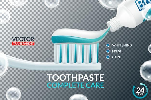 歯磨き粉のチューブと歯ブラシのデザインアイコンを設定 Premiumベクター