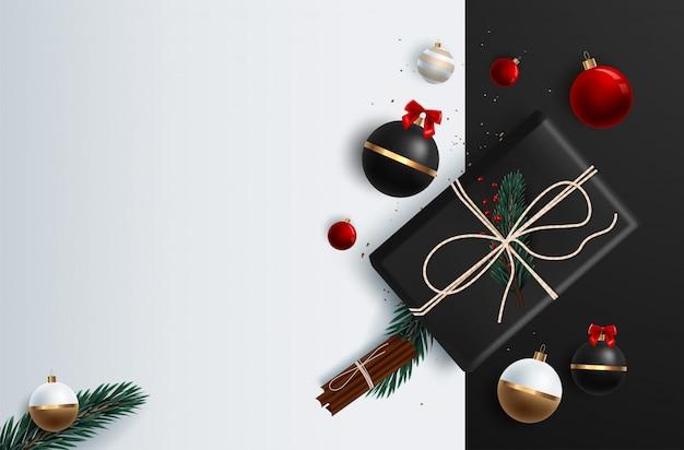 Рождественский баннер векторный фон шаблона с веселого рождества приветствие типографии и красочные элементы, такие как подарки и украшения Premium векторы